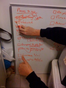 Is there anything as gratifying as checking something off of the white board?  This photo was taken after a day trip upstate.  Note the first item, a visit to Bed Stuy, ended up being a really bad idea (at least I don't have to hear about Will's dream of buying a cheap brownstone anymore)